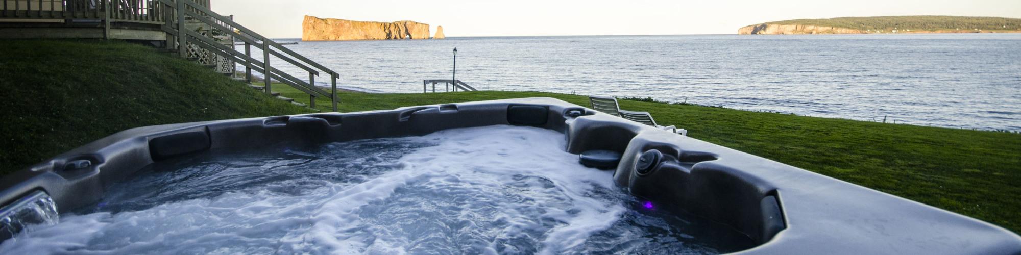 Hot tub, overlooking Percé Rock, Gaspé Peninsula