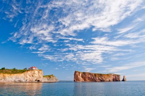 Paysage, ciel bleu, rocher Percé