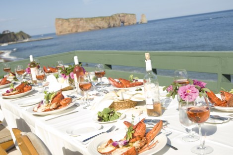 Lobster meal, terrace, by the sea, Percé Rock