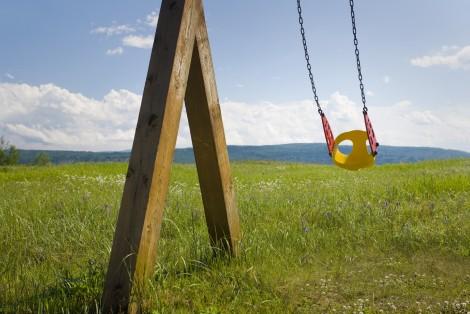 Balançoire dans un champ
