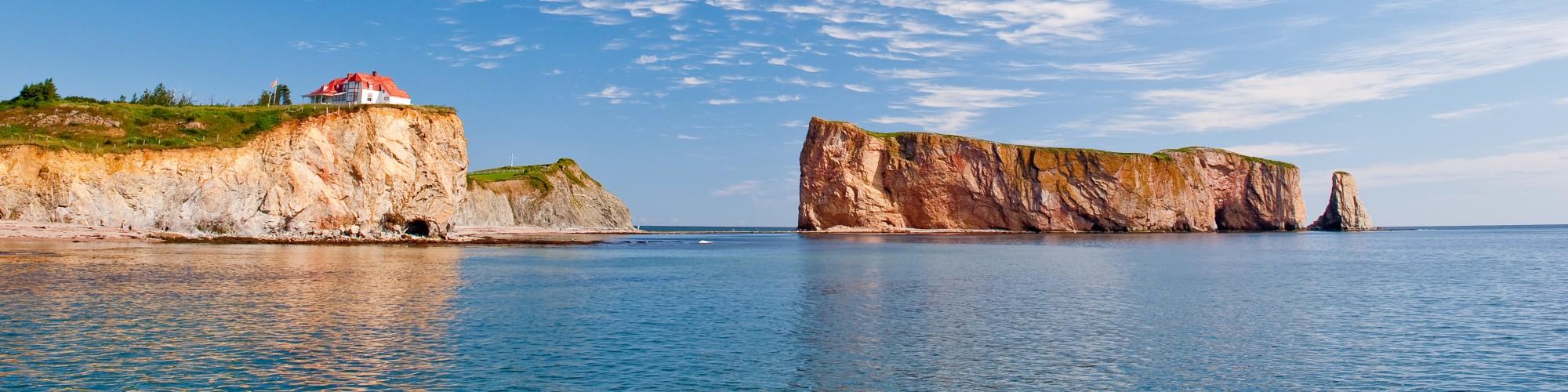 Landscape, blue sky, Percé Rock