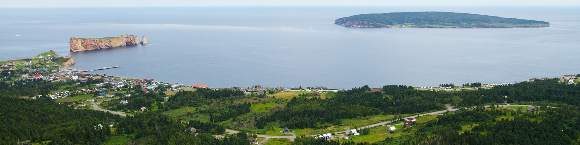 Aerial view, landscape, Percé Rock