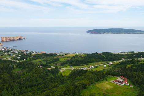 Aerial view, landscape, Percé Rock