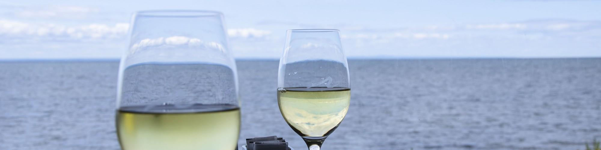Verres de vin, restaurant, vue sur la mer, Riôtel
